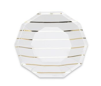 Frenchie Striped Small Plates Gold Foil