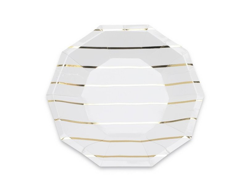 Daydream Frenchie Striped Small Plates Gold Foil