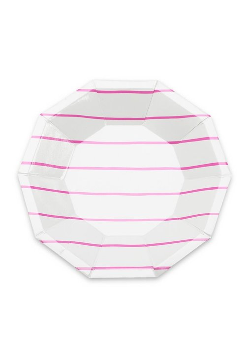 Frenchie Striped Small Plate Cerise