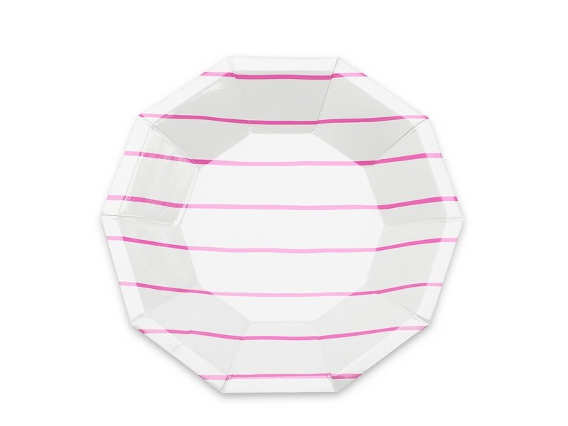 Daydream Frenchie Striped Small Plate Cerise