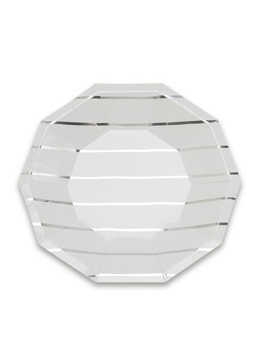 Frenchie Striped Small Plates Silver Foil