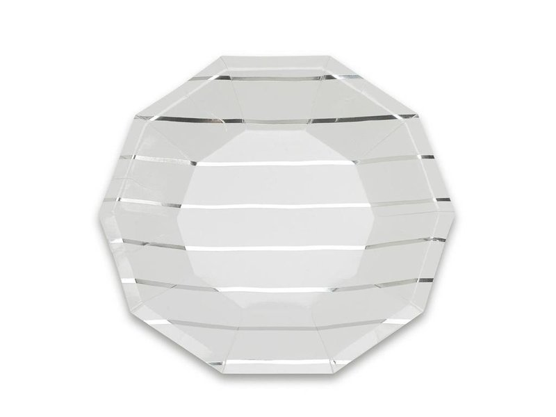 Daydream Frenchie Striped Small Plates Silver Foil