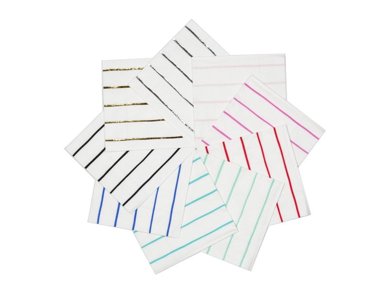 Daydream Frenchie Striped Petite Napkins Ink