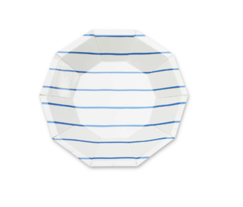 Frenchie Striped Small Plate Cobalt