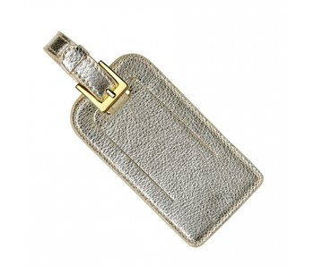 White Gold Metallic Leather Luggage Tag