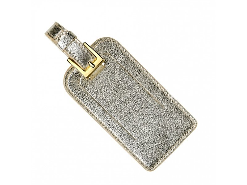 Graphic Image Inc. White Gold Metallic Leather Luggage Tag