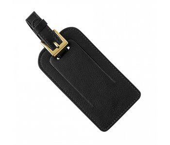 Black Goatskin Leather Luggage Tag