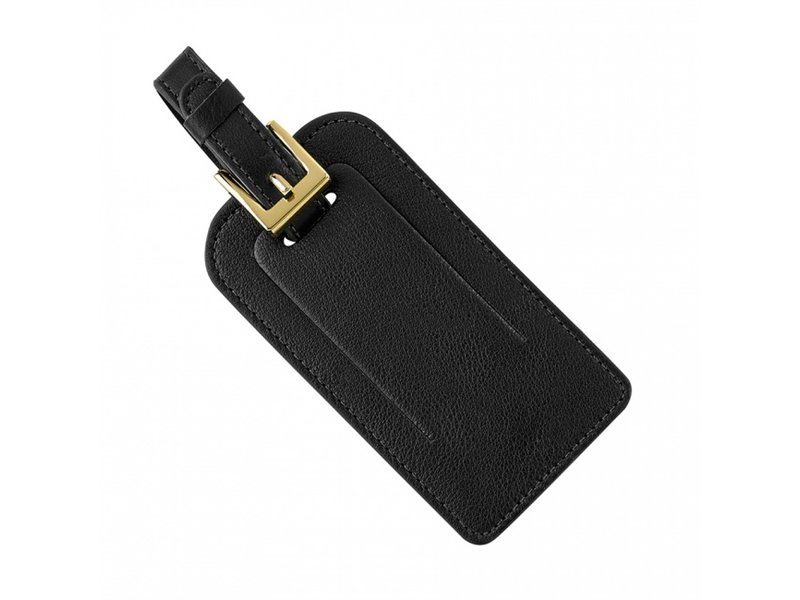 Graphic Image Inc. Black Goatskin Leather Luggage Tag