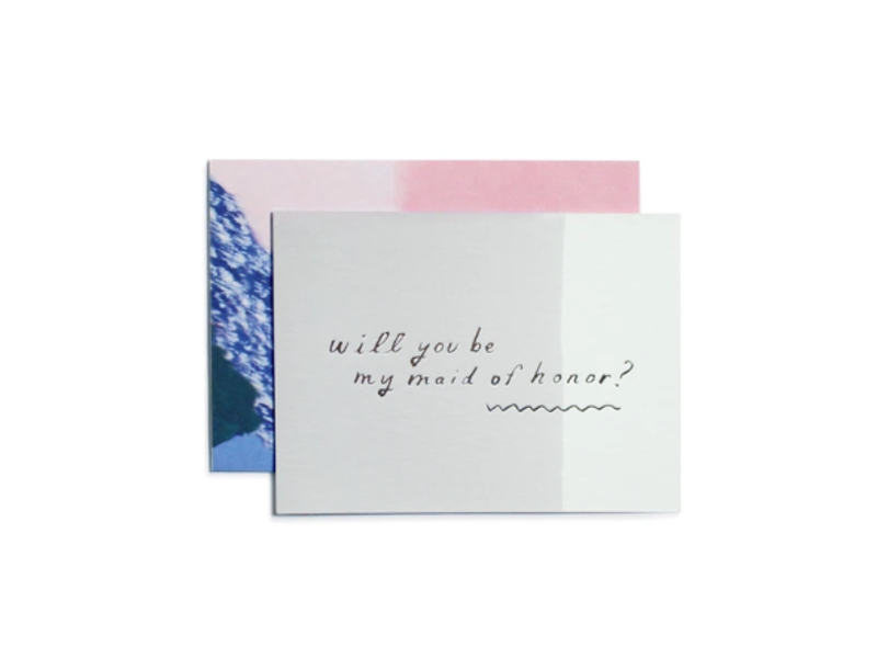 Moglea Be My Maid of Honor Gray Greeting Card