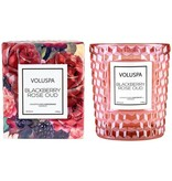 Voluspa Blackberry Rose & Oud Boxed Classic Textured Glass Candle
