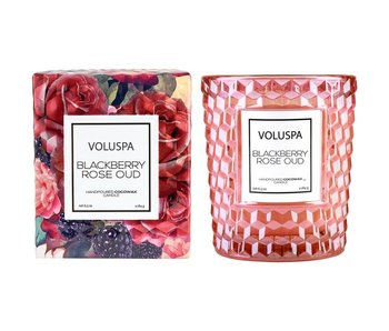 Blackberry Rose & Oud Boxed Classic Textured Glass Candle