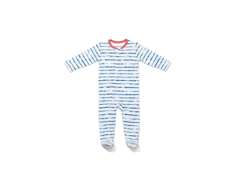 EGG by Susan Lazar Blue Stripe Classic Zipper Footie