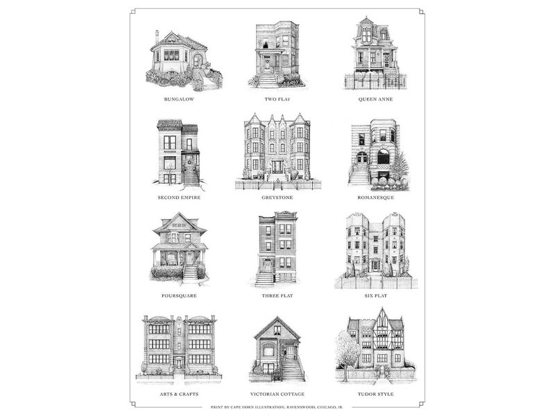 cape horn Illustrations A Guide to Chicago Home Styles Print