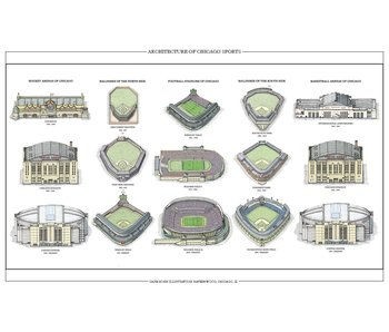 Architecture of Chicago Sports Print