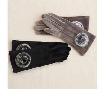 Velvet Pom Pom Gloves