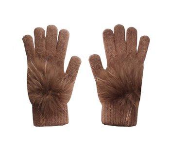 Cashmere Gloves with Fur Pom Pom