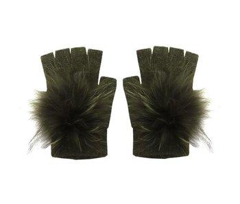 Angora Pom Hand-warmer Gloves Olive Green