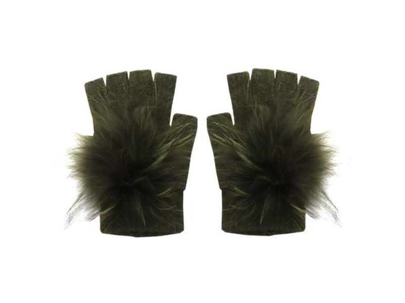 Linda Richards Angora Pom Hand-warmer Gloves Olive Green