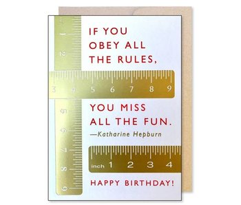 Quote Rulebreaker Birthday Greeting Card