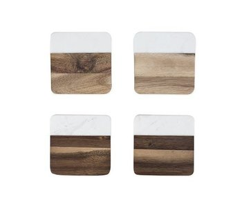 Marble & Acacia Coaster Set