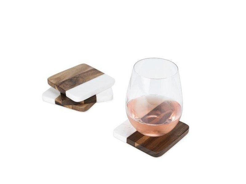 True Brands Marble & Acacia Coaster Set