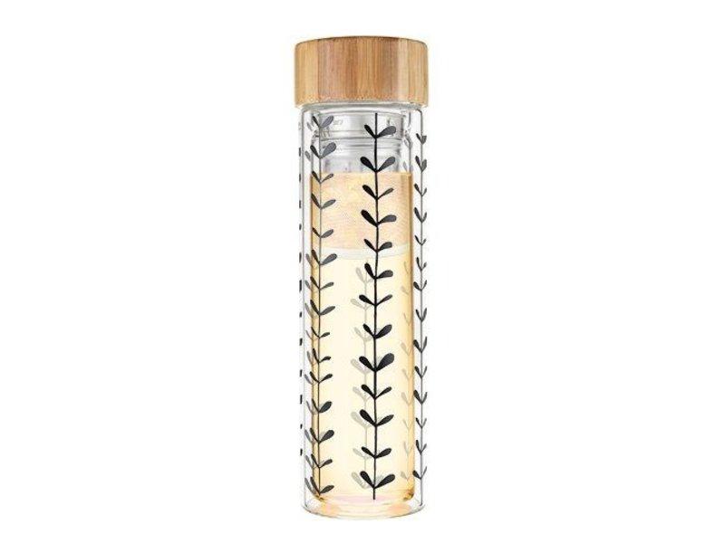 True Brands Leaf Pattern Glass Infuser Mug