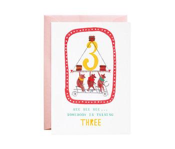 Three Cycling Bears Birthday Card