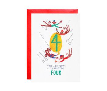 Four Mischievous Monkeys Birthday Card