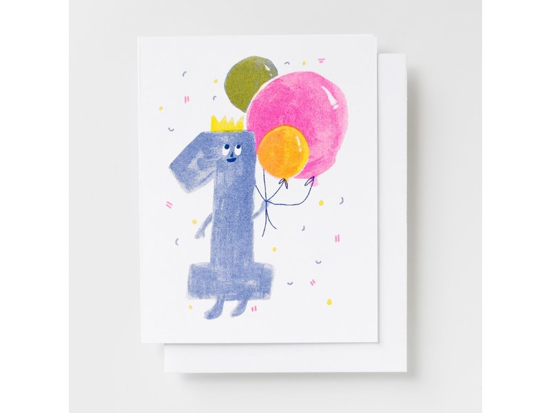 Yellow Owl Workshop Birthday 1 Riso Greeting Card