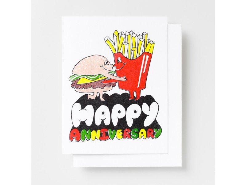 Yellow Owl Workshop Happy Anniversary Burger Greeting Card