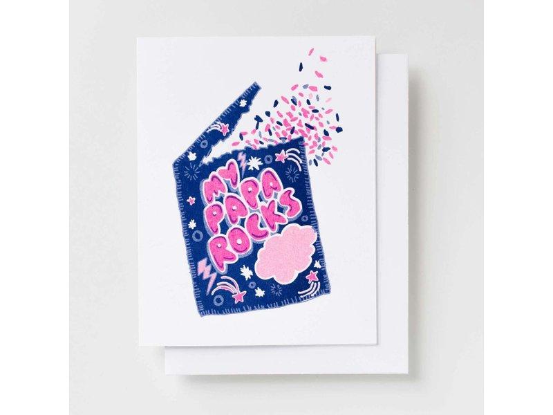 Yellow Owl Workshop My Papa Rocks Riso Greeting Card