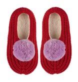 Verloop Pom Pom Red Rib Slippers