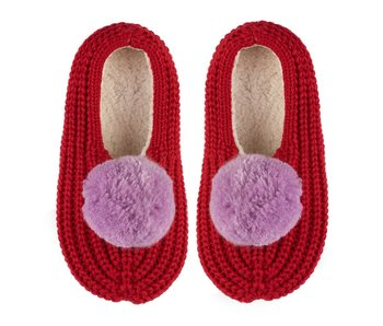 Pom Pom Red Rib Slippers