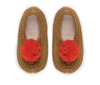 Pom Pom Camel Ribbed Slippers