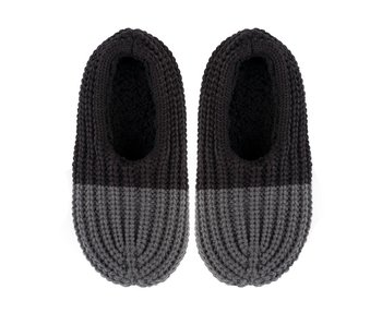 Colorblock Black & Grey Knit Slippers Men's US Size 8-10