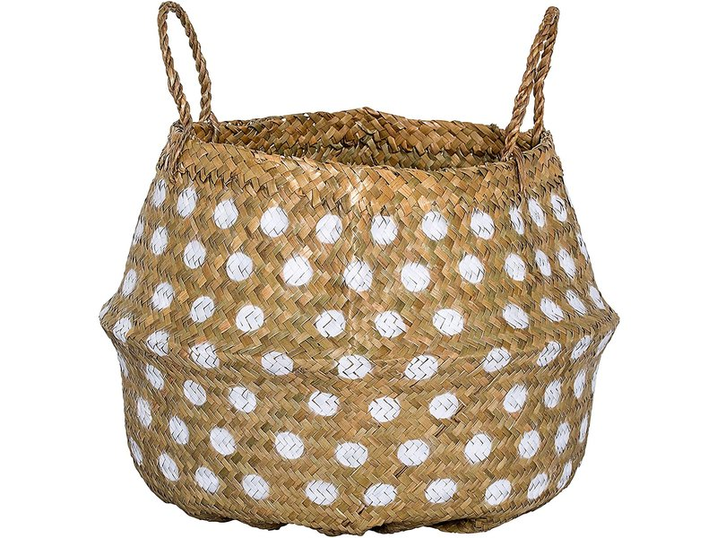 Bloomingville Seagrass Basket W/ White Dots