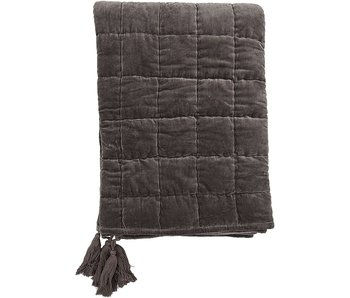 Grey Quilted Cotton Throw