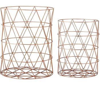 Copper Finish Metal Storage Basket