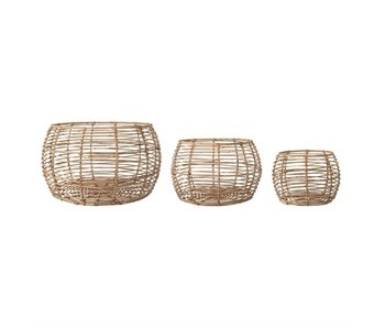 Beige Open Weave Rattan Baskets