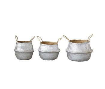 Silver Seagrass Collapsible Baskets