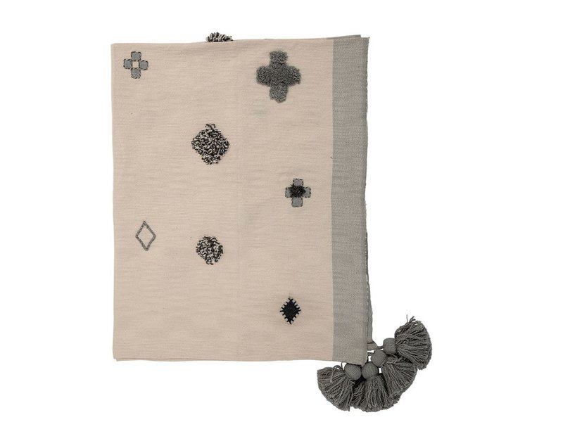 Bloomingville Cotton Woven Throw w/ Embroidery & Tassels, Cream & Blue