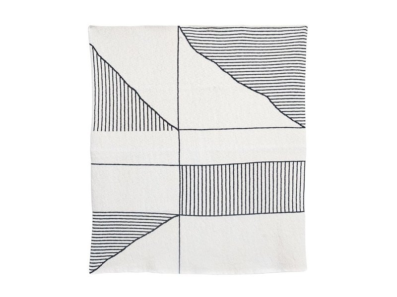 Bloomingville Cotton Knit Throw with Cream &  Black Pattern