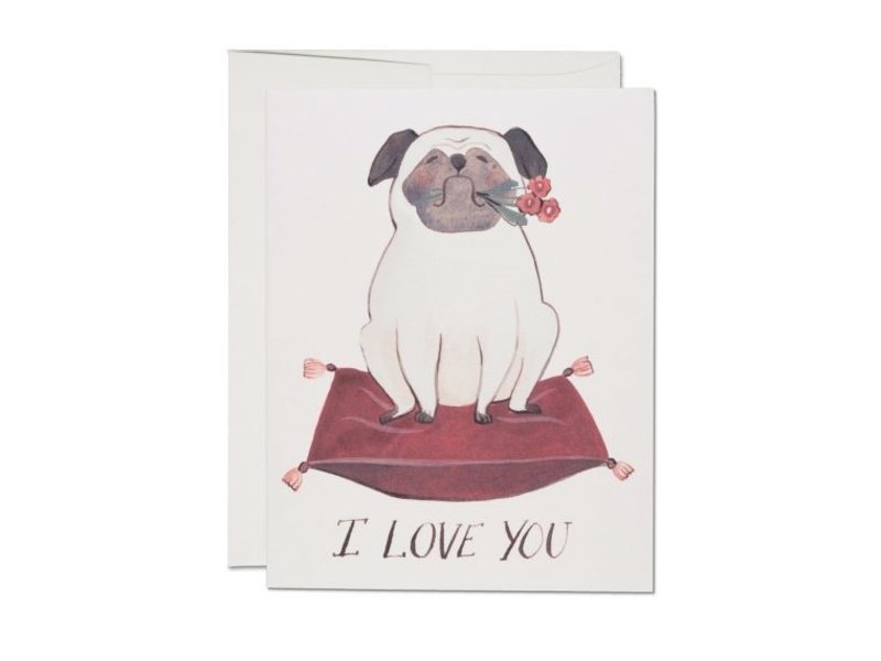 Red Cap Cards Pug Love