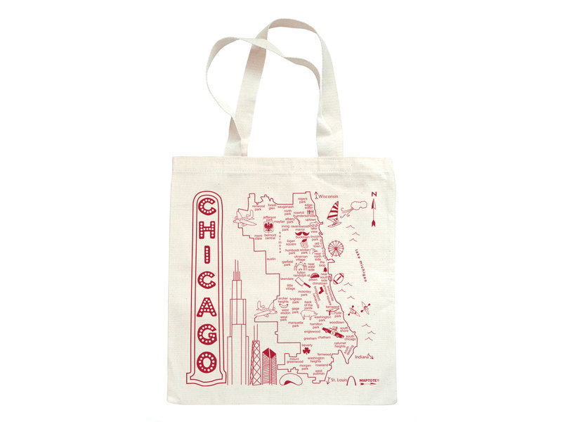 Map Tote Chicago Grocery Tote