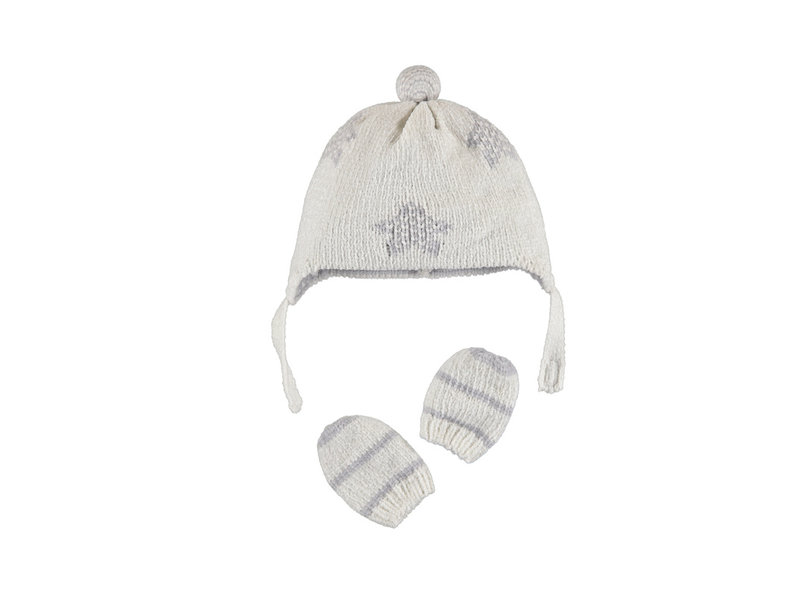 Mayoral Grey Star & Stripes Hat and Gloves Set