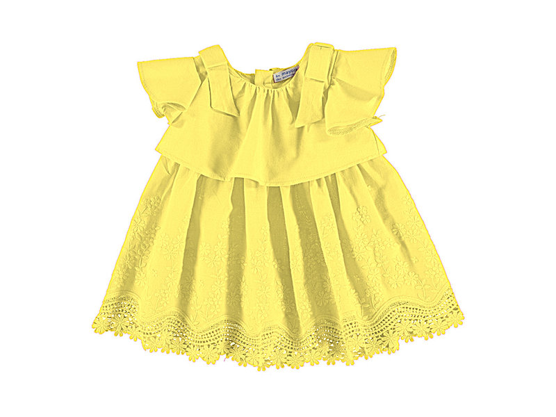 Mayoral Yellow Embroidered Poplin Dress