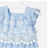 Mayoral Stripes Embroidered Poplin Dress