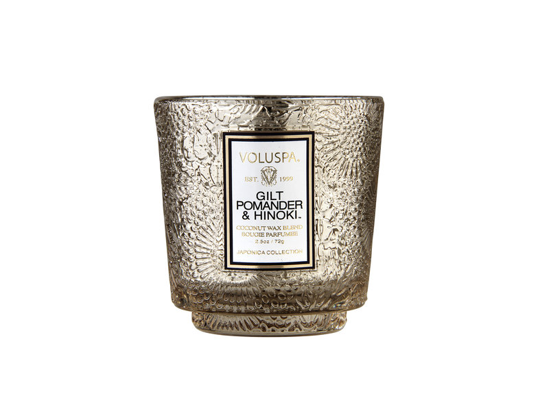 Voluspa Gilt Pomander & Hinoki Holiday Glass Candle