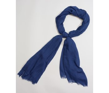 Solid Crinkle Navy Scarf