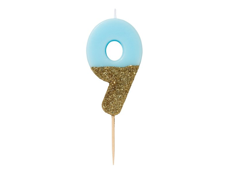 Talking Tables We Heart Birthdays Glitter Candle Blue